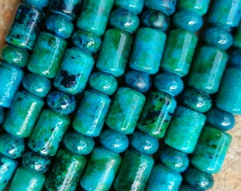 "Natural Chrysocolla Tube and Button  Beads, Dyed, Tubes 9mm x 6mm, Buttons 6mm x 4mm - 15"" Strand"
