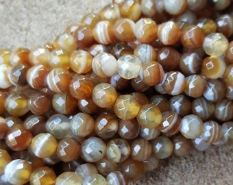 "Natural Striped 6mm Faceted Striped Round Beads, Dyed Peachpuff - 15.5"" Strand"