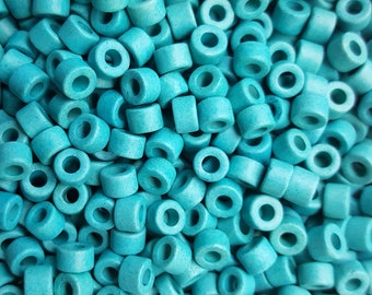 6x4mm Mykonos Greek Ceramic Turquoise Blue Mini Tube Beads - Select 20, 50 or 100