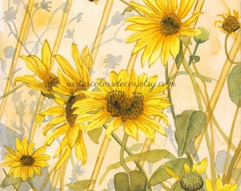 Original Heart Sunflowers watercolor painting. Sunflower wall art. Sunflower picture. Watercolor floral. Sunflower painting. Country decor.