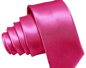 """Wedding Tie Hot Pink Fuchsia Tie Fuchsia Berry Satin Necktie Groomsman Wedding Tie 3.5""""  Fuschia Neckties Best Man Groomsmen Tie Magenta"""