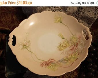 SALE Circa 1891 Artist Signed Charles Field Haviland Scalloped Tab Handled Bowl - Chrysthanthemums, Limoges, France