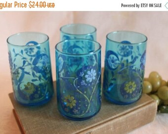 SALE Set of 4 Vintage Hand Painted Blue Glass Juice Cups - Enamel Blue and Yellow Flowers, 8 ounce