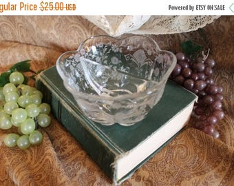 SALE Duncan & Miller Glass Divided Etched Canterbury Divided Bowl with First Love Etching