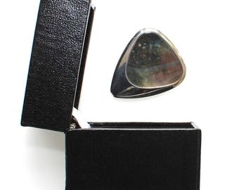 Inlay Tones - Titanium Guitar Pick with Black Mother of Pearl Inlay