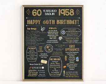 Printable 60th Birthday Chalkboard Sign, Back in 1958, Birthday Gift, Birthday Poster, 1958 Poster, Digital, Download, Sign, MB294