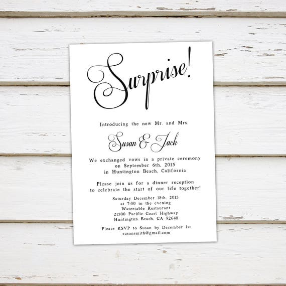 Printable Elopement Reception Invitation Surprise We got married