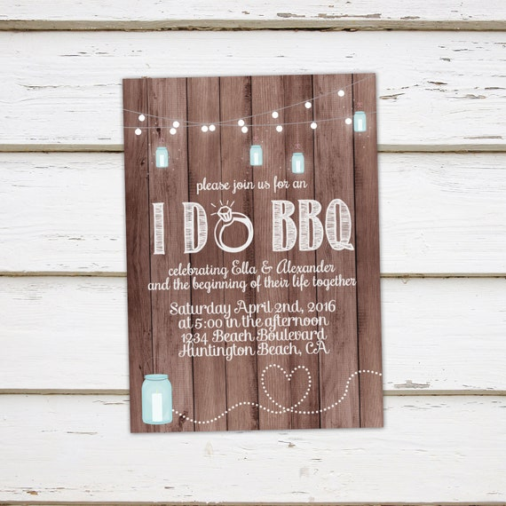 printable i do bbq invitation engagement party elopement reception