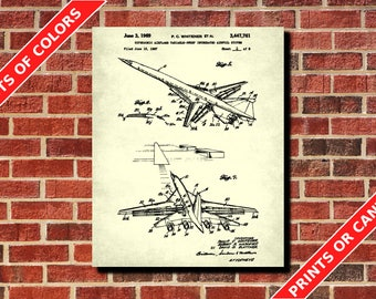 Aircraft Patent Print Supersonic Airplane Blueprint Swept Wing Jet Pilot Gift Flying Poster Aviation Wall Art