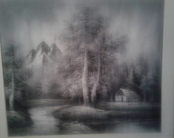 Black And White Painting On Paper/ Trees / Mountain/ Cabin/Pond/ Signed