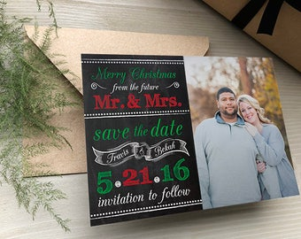Merry Christmas Save the Dates • Holiday Save the Date • Christmas Wedding Save the Dates • Save the Date Christmas Card