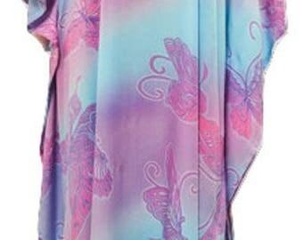 Plus Size Boho Hippie Tie Dye Butterfly Print One Size Batwing Sleeved Kaftan Maxi Dress Purple