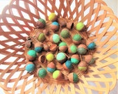 Wool felted acorns, handmade natural ornaments, autumn fall decor colours, greens, blues, set of 25 available