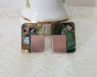 Vintage 925 Mexico Silver Abalone Cufflinks