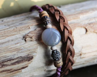 Gray Agate spring woven leather bracelet