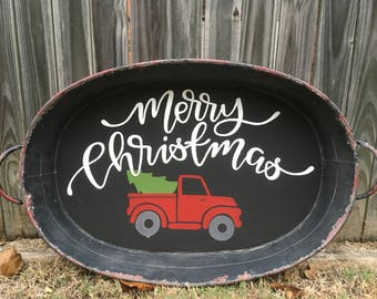 Rustic Truck and Tree Merry Christmas Wall Decor