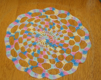 "Hand Crafted DOILY - 9"" Shades of the Rainbow Multi-Colored Hand Crocheted Doily"