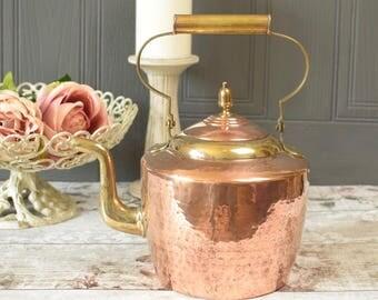 Vintage hammered copper and brass kettle