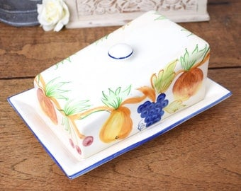 Large vintage cheese dish, glazed ceramic with hand painted fruit pattern
