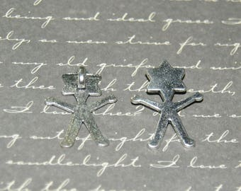 2 silver character charms
