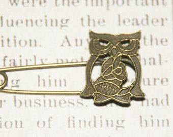 OWL brooch / OWL bronze 54x26mm