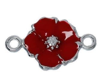 Connector enameled poppy red and silver 24x15mm