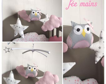 Musical baby mobile with OWL pink clouds and stars