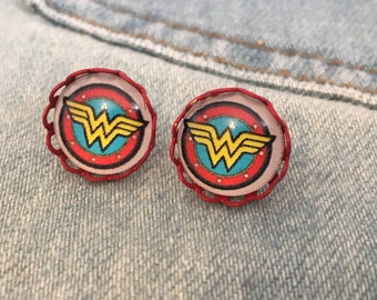 wonder woman stud earrings, tiny cute sweet cabochon studs, Wonder Woman logo