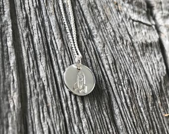 Rocket recycled sterling silver charm necklace