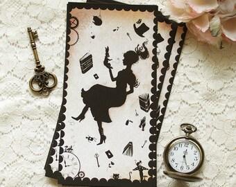 Postcard - Illustrated postcard - alice - wonderland - victorian - Miss Shadow in Wonderland