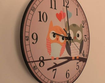 Amorous owlets sit on the tree Silence Nurcery clock Modren wall clock retro wall clock Unique wall clock retro wall clock