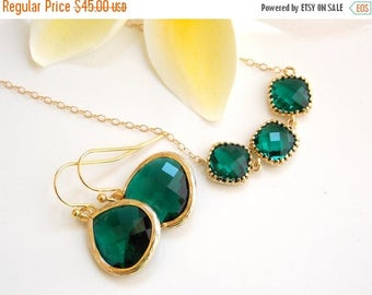 SALE Wedding Jewelry,Emerald Earrings and Necklace,Dark Green Set,Gold Filled,Bridesmaid Gifts, Bridesmaid Jewelry, Dangle,Pendant Set, Gift