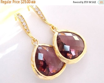 SALE Wedding Jewelry, Plum Earrings,Gold,Eggplant,Burgundy,Bridesmaid Jewelry,Cubic Zirconia, Dangle, Bridesmaid Gifts,Bridal Gifts,Drop Ear