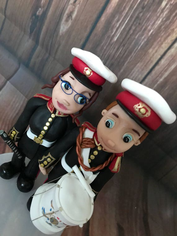 Fully personalised clay Wedding Cake Topper highly detailed and fully sculpted marine band Keepsake - Bespoke Premium Service