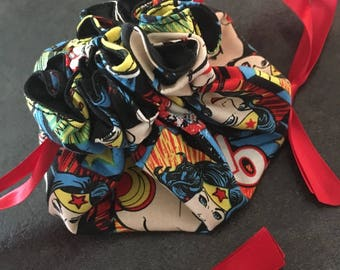 Jewelry purse divided wonder woman for a wonder Mum printed satin and cotton!