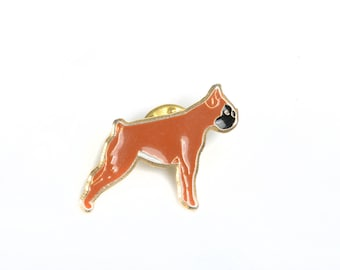 Dog enamel brooch, dog lapel pin, dog enamel pin, boxer, pet enamel pin, pet lapel pin, dog enamel badge, animal lapel badge