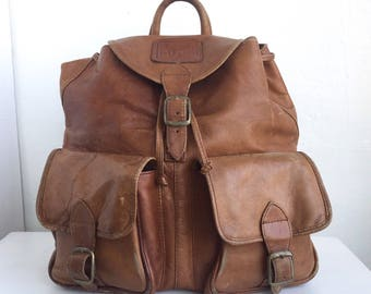Tan Leather Double-Pocket Backpack 1990's
