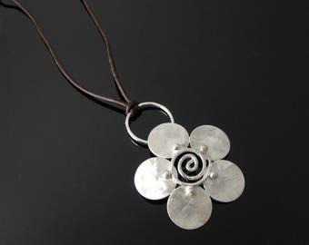 Silver Flower Pendant Sterling Silver Flower Necklace Pendant Silver Pendant Silver Necklace Flower Jewelry Floral Pendant Silver Jewelry