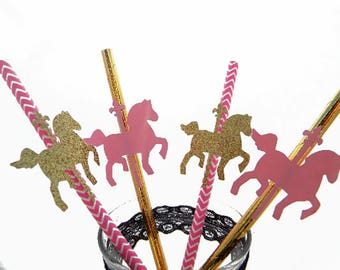 Carousel Horse straws, Carousel Horse Party, 1st Birthday Girls, Carousel Straw, Carousel Horse Party Ideas, Carousel Horse Decorations