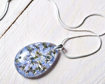 Real flower resin pendant - Sterling silver necklace with pressed flower in clear resin