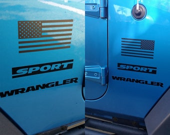 """Set of Jeep Wrangler American Flag Decals Colors 3M - 6"""" x 3.16"""""""