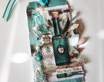 Teal Glass Mixed Media Tag
