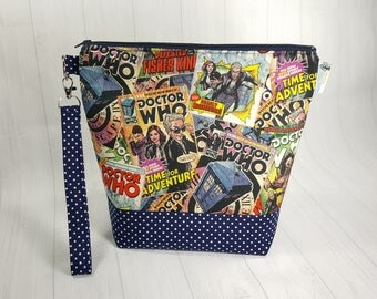 Doctor Who Comics Medium Knitting Project Bag, Medium Zippered Wedge Bag, Zipper Bag, Shawl Project Bag WM0037