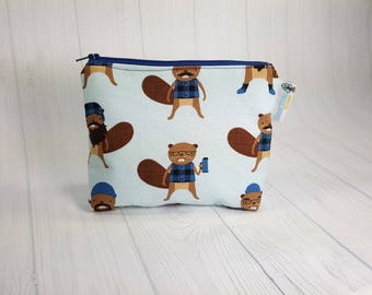 Lumberjack Burly Beavers Blue Zipper Notions Pouch, Mini Zippered Wedge Bag, Craft Pouch NP0035