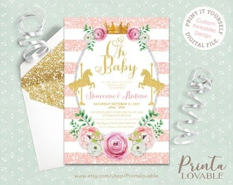 DIGITAL Pink, Mint and Gold Carousel Baby Shower Invitation, Baby Girl Invitation, Baby Boy invitation, Carousel invitation
