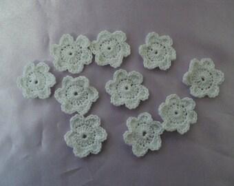 SET of 10 CROCHET cotton white SCRAPBOOKING flowers