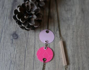 "necklace ""lozenge"" wood paint and paper rose"