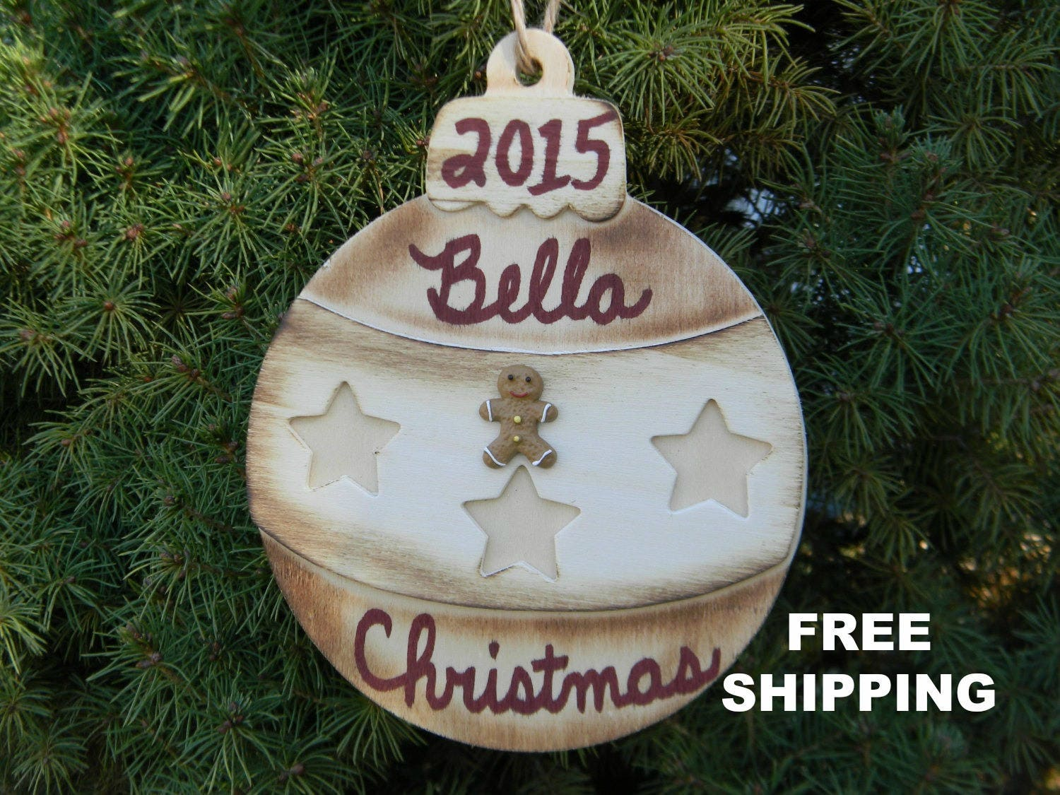 Rustic christmas tree ornaments - Personalized Christmas Ornament Kids Christmas Gift Holiday Ornament Rustic Christmas Bulb Gingerbread Man Christmas Tree Decorations