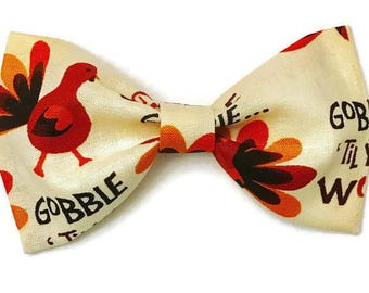 Boys thanksgiving bow tie, fall bow tie, beige bow tie, turkey bow tie, thanksgiving turkey bow tie, clip on bow tie, preppy toddler