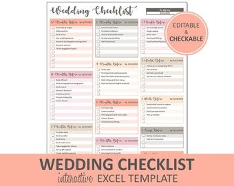 Peachy Wedding Checklist - Wedding To Do List Printable and Editable | Excel Wedding Checklist Template | Instant Digital Download
